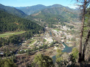 A view of Happy Camp, California - from the top of the town trail, on the south side of the Klamath River.