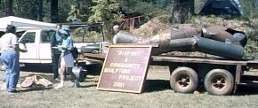 Bigfoot statue project at the 2001 Bigfoot Jamboree