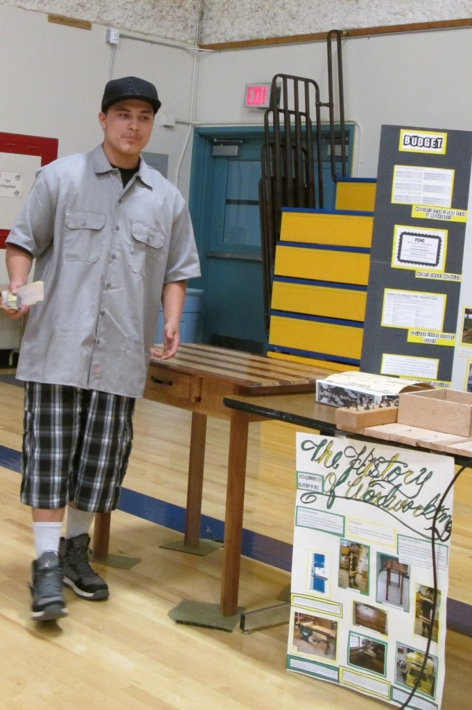 Ray Griffin presented his Senior Project on woodworking with beautiful examples of his skill in this craft.